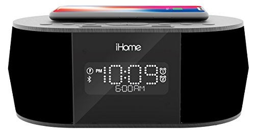 iHome iBTW38 Bluetooth Stereo Dual Alarm Clock with Qi Wireless Fast Charging, Speakerphone and USB Charging Port for Any USB Device