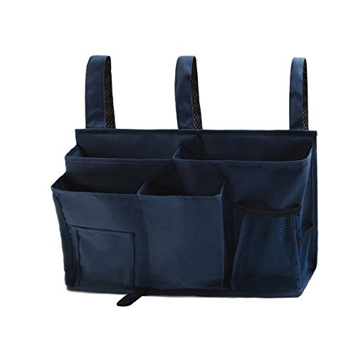 ZARO Bedside Storage Bag Hanging Organizer Caddy Sofa Container, Waterproof Oxford Fabric Fit for Dorm / Car / Pram / Hospital Bed / with 8 Pockets for Remote, Books, Glasses, Tissue, Toys-Navy Blue by ZARO