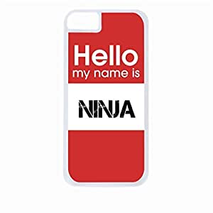 Hello My Name Is Ninja-Hard White Plastic Snap - On Case-Apple Iphone 5 - 5s - Great Quality!
