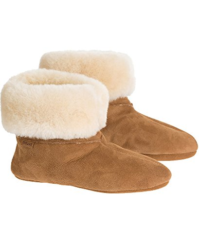 Women's Overland Lily High-Top Sheepskin Slippers, Chestnut, Size 9 by Overland Sheepskin Co