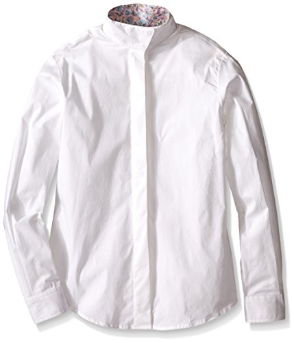 Devon-Aire Girls Nouvelle Stretch Long Sleeve Shirt, 6, White (Shirt Stretch Riding)