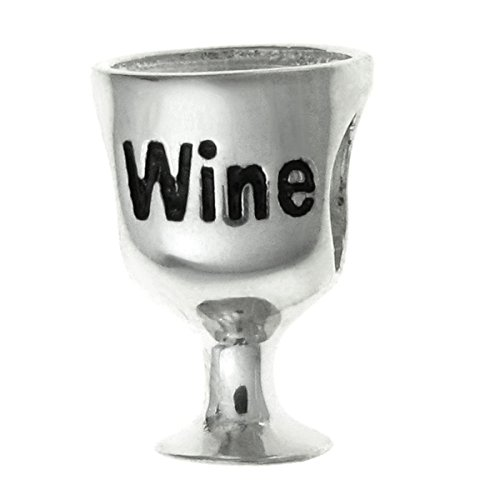 Sterling Silver Wine Lover Glass European Charm ()