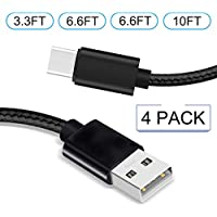 Aexagon USB Type C Cable, USB C to USB A Charger (4Pack), Nylon Braided Fast Charging Cord for Samsung Galaxy Note 8 S8,Google Pixel, LG V30 V20 G6 5, Nintendo Switch (black)