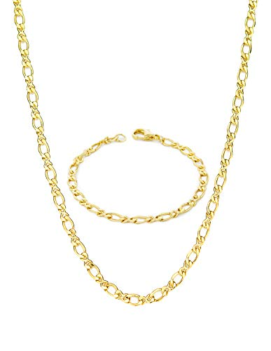 My Ritzy Jewelry Sets for Women and Men 24k Gold Plated Figaro Chain Set Best Gift for All Occasions | 3MM Thick | Necklace and Bracelet Chains Sizes 7.5 in / 20 inch | with A Gift Box ()