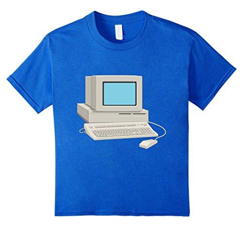 Kids Antique Computer t-shirt Vintage Desktop Monitor Keyboard 10 Royal Blue