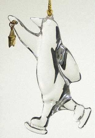 Gorham Crystal Antique Gold Skating Penguin Ornament