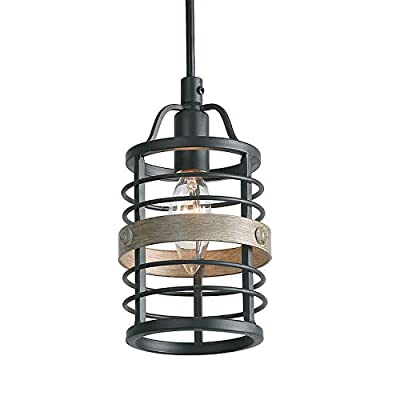 LNC Heavy Duty Pendant Light, Candle Ceiling Light with Faux Wood Bond, Transitional 1 Light Pendant Lighting
