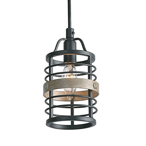 Transitional Pendant Light 1 - LNC Faux-Wood Bond Pendant Lighting, 1 Light Heavy Duty Pendant Lights, Dimmable and Height Adjustable Small Cage Lighting Fixture
