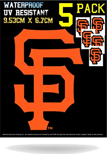 - 5 Pack SF Giants Vinyl Decal Sticker Set | Waterproof & UV Resistant Ideal for Cars | Decorate Baseball Gear Team Helmet Cornhole Hard Hat Lunchbox Phone Case Laptop Wall Mug Cup Gift Box