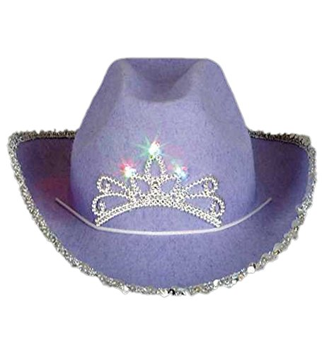 Blinking Pink Tiara Cowboy Hat (Child) (One Size, 1 Pack Purple) (Lone Cowboy Adult Costume)