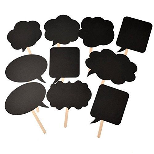 HuanX35 Photo Booth Props Kit,Writable Black Card Board Photographing Props Party Favor(10pcs Different Shapes)