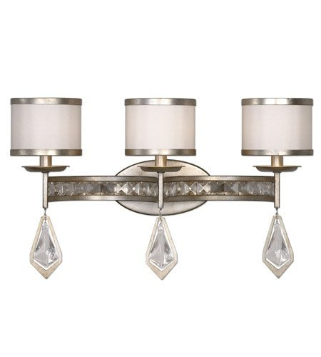 Bathroom Vanity 3 Light With Burnished Silver Champagne Leaf Finish Metal K9 Crystal Faux Fabric Material 22 inch 180 Watts (Leaf 3 Light Vanity)