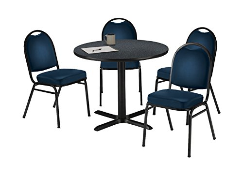 (KFI Seating Round Laminate Top Pedestal Table with 4 Navy Vinyl Armless Stack Chairs, 42