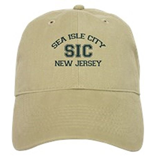 CafePress - Sea Isle City NJ - Varsity Design - Baseball Cap with Adjustable Closure, Unique Printed Baseball Hat Khaki -