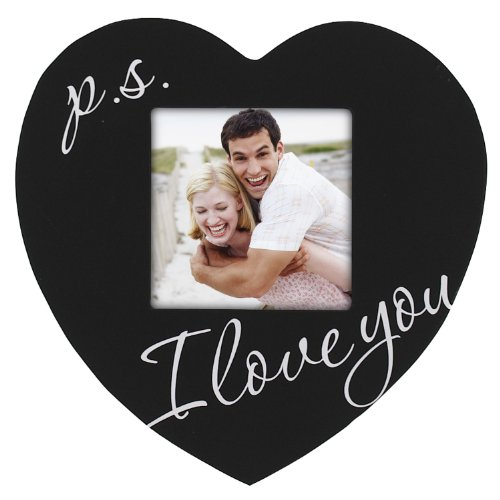 P.S. I Love You Black Wood Heart Picture Frame, 3.5x3.5, Black