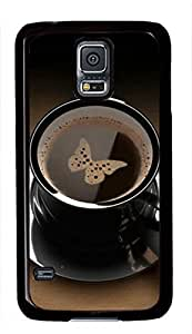 Butterfly Coffe Theme Case for Samsung Galaxy S5 i9600 PC Material Black by icecream design