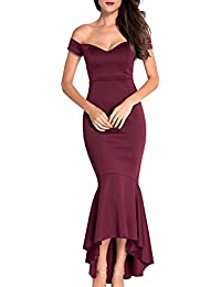Womens Off The Shoulder Mermaid Flouncing Formal Gown Party Dress High Low Skirt