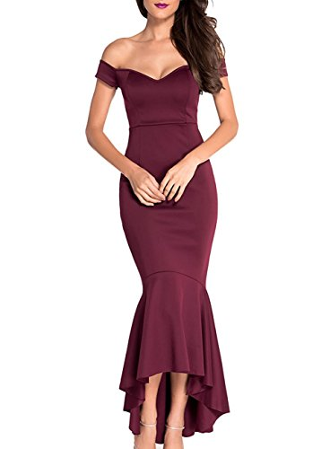 (Women's Off The Shoulder Mermaid Flouncing Formal Gown Party Dress High Low Skirt-Burgundy Size S)