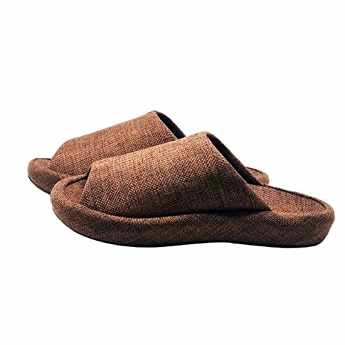 Brown Slipper Shoes Q Flat Cushioned Slippers House Peep Platform Toe Plus Slide Sandals Linen Men Mules Women Foam TnrqRT8a