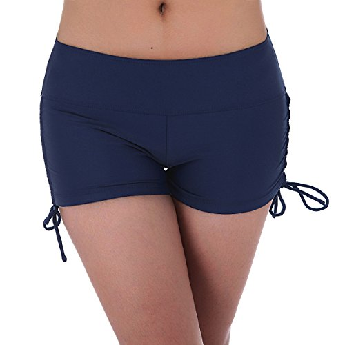 UNOW Womens Sporty Adjustable Boy Leg Wide Waistband Fully Lined Bikini Bottom Beach Briefs Tankinis Board Shorts(Dark Blue,S)