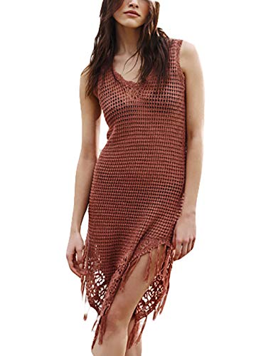 Ailunsnika Women Sexy Crochet Sleeveless Tassel Tank Dress Brown Hollow Out Beach Swim Bikini Cover Ups