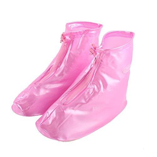 eDealMax PVC extrieur Zippered eau de la Neige Chaussures de pluie rsistant Overshoes couvre-Bottes paire Rose