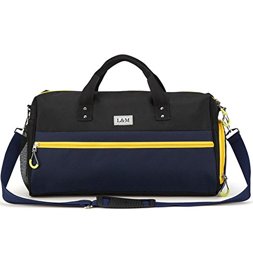 Gym Duffle Bag Sport Travel Bag for Women Men with Shoe Compartment, Wet Pocket ()