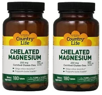 Country Life - Chelated Magnesium, 250 mg, 180 tablets (2 Pack) by Country - Tablets 250 Chelated