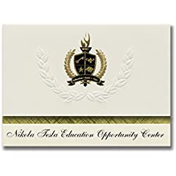Signature Announcements Nikola Tesla Education Opportunity Center Graduation Announcements, Presidential Elite Pack 25 with Gold&Black Metallic Foil seal