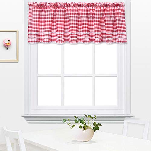 (DOKOT Buffalo Check Plaid Gingham Country Kitchen Curtain Tier and Valance with Lace Crochet Border, 17 x 60 Inch,)