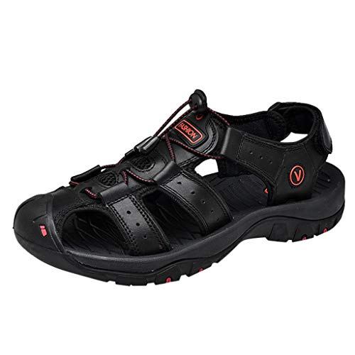 - Outdoor Mens Leather Flats Casual Beach Athletic Shoes Breathable Sport Breathable Sandals