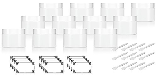 2 oz White Double Wall Plastic Jar with Airtight Lined Lid (Pack of 12) + Spatulas and Labels