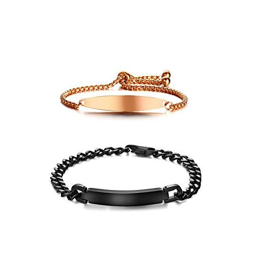 VNOX Customized Stainless Steel Link ID Bracelet Couples Boyfriend Girlfriend Bracelet,Black&Rose Gold Plated by VNOX