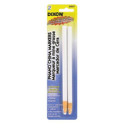 Dixon Phano China Marker Pencils, White, 2 Pencils per Pack (30771)