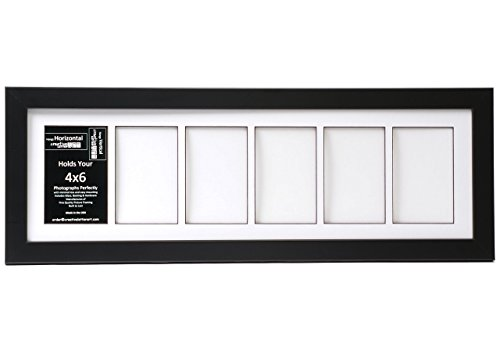 Creative Letter Art [8x26bk-w] 6 Opening Glass Face Black Picture Frame Holds 4x6 Media with White Collage Mat