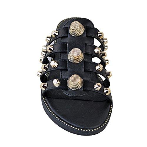 Tachuelas Verano Oro Sandalias Negro Fashion De Piel Desliza Deslizables Thirsty Heelberry Mujer Sintética Gigante Ligero Doradas PpgB6pI