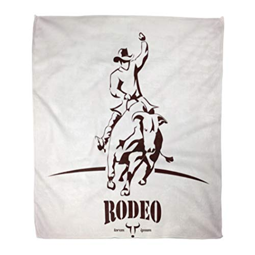 Golee Throw Blanket Longhorn Bull Rodeo Symbol Silhouette Cowboy Rider Bucking Cattle Animal 60x80 Inches Warm Fuzzy Soft Blanket for Bed Sofa