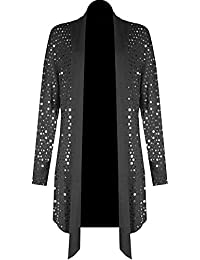 FASHION FAIRIES Womens Full Sleeve Sequins Sparkling Shiny Top Ladies Waterfall Open Drape Top