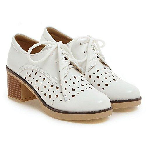 COOLCEPT Damen Mode Schnurung Court Schuhe White