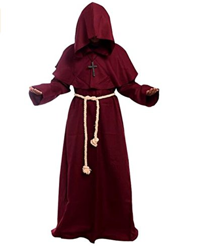 The Priest Movie Costume (Costume for The Medieval Monks Priest Robe Hooded Cosplay Various Styles (Small, Red))
