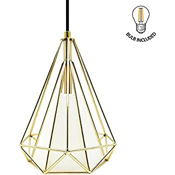 Create Bright Retro Style Industrial Loft Metal Chandelier Ceiling Pendant Light,Golden Iron Basket Cage Hanging Lamp
