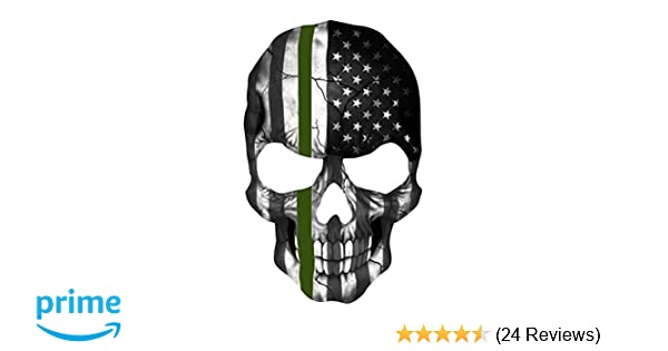 Amazon.com  K9King Military Skull 5.5 x 4 Inch Thin Green Line Tattered  Subdued Us Skull Flag. Highly Reflective Vinyl Decal  Automotive 886895f9d585