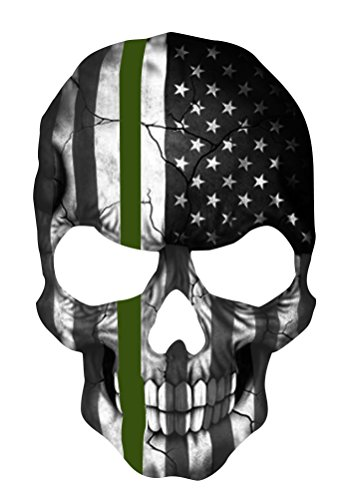 [GreenLine Skull 5.5 x 4 Inch Thin Green Line Tattered Subdued Us Flag. Highly Reflective Vinyl Decal] (Cardboard Costume Challenge)