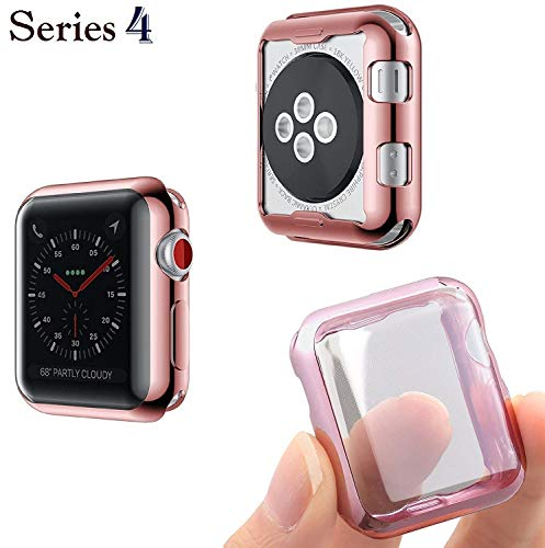 Josi Minea iWatch 4 [44mm] Protective Snap-On Case with Built-in Screen Protector - Anti-Scratch & Shockproof Ultra Thin Cover HD Clear Shield compatible with Apple Watch Series 4 [ 44mm - Rose Gold ]