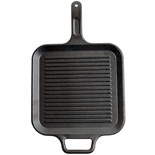 Lodge 12 Inch Square Cast Iron Grill Pan. Ribbed 12-Inch Square Cast Iron Grill Pan with Iron Ribbed Grill Press by Lodge (Image #1)