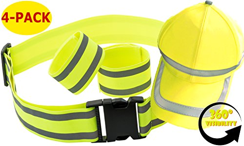 Reflective Safety Gear Set | Reflector Bands + Reflective Belt + Hi Vis Baseball Cap | Made of Silver Tape High Visibility for Running Gear, Walking, Biking | Adjustable & Lightweight by Mr Visibility (Reflector Set)