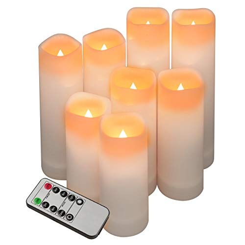 pensar Flameless Candles, Waterproof Outdoor Indoor Led Candles Set 8(H 4 5 6 7 x D 2.2) Battery Candles with Remote Timer?Battery not Include?