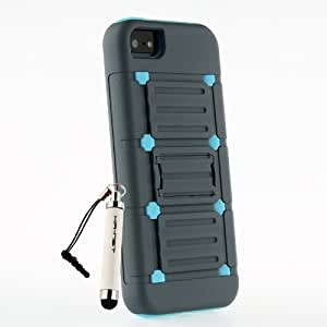 [Aftermarket Product] Blue Hybrid Soft+Hard TPU Kickstand Protective Case Cover For iPhone 5 5S