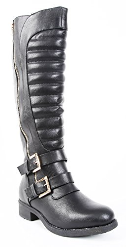 Knee Fourever Funky Boot Women's Leathertte Vegan Strap Quilted Black Riding xBxvw7