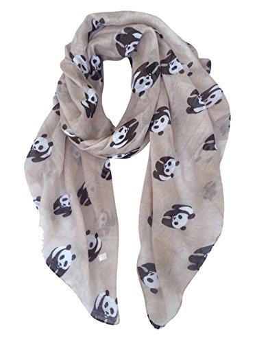 Gerinly Animal Print Scarves  Cute Pandas Pattern Women Wrap Scarf  Khaki